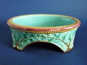 Rare George Jones Turquoise Majolica Dog Bowl c1870